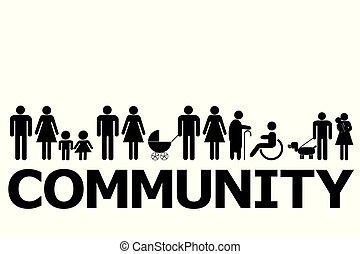 fogalom, pictograms, közösség, emberek