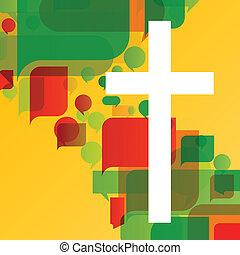 fogalom, poszter, elvont, kereszt, ábra, kereszténység, vallás, vektor, háttér, mózesi