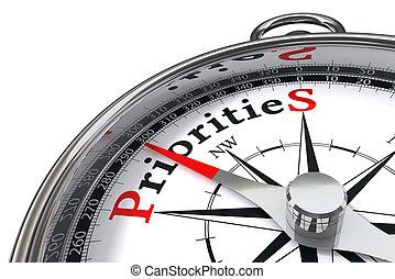 fogalom, priorities, iránytű