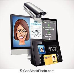 fogalom, -, rendszer, arc, biztonság, elismerés, biometric