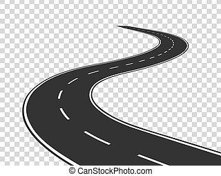 fogalom, road., aszfalt, elszigetelt, highway., kanyargás, utazás, forgalom, út, horizont, perspective., görbe megtölt, üres
