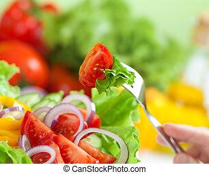 fogalom, saláta, egészséges, vagy, élelmiszer, növényi, friss, étkezés