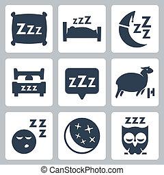 fogalom, sheep, ikonok, hold, elszigetelt, bagoly, ágy, vektor, alszik, vánkos, set:, zzz