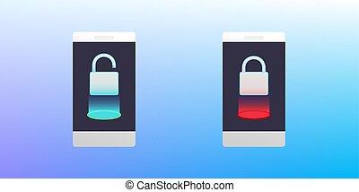fogalom, .smartphone, zár, unlocked., ábra, telefon, vektor, bezárt