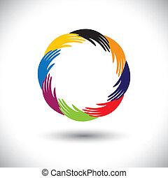 fogalom, symbols(icons), graphic-, kéz, vektor, emberi, karika, kultúrprogram-szervező tiszt, vagy