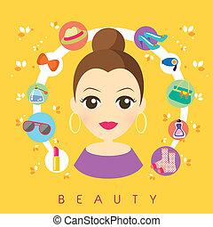 fogalom, szépség, bevásárlás, tervezés, lakás