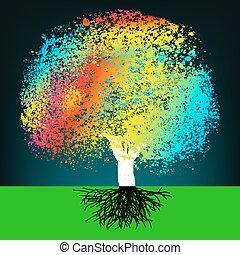 fogalom, színes, elvont, eps, fa., 8