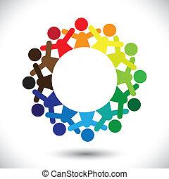 fogalom, színes, ikonok, graphic-, elvont, gyerekek, vektor, játék