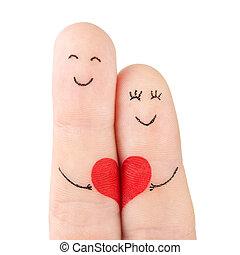fogalom, szív, család, festett, -, ujjak, elszigetelt, nő, háttér, fehér, befolyás, piros, ember