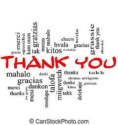 fogalom, szó, hálát ad, kivezetés, felhő, ön, piros