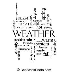 fogalom, szó, időjárás, fekete, white felhő