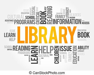 fogalom, szó, könyvtár, felhő, kollázs, oktatás
