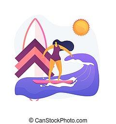 fogalom, szörfözás, vektor, metafora, izbogis