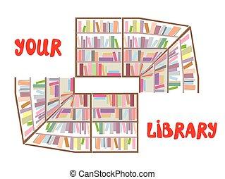 fogalom, szöveg, könyvespolcok, -, könyvtár, aláír