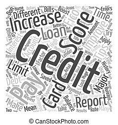 fogalom, szöveg, növekszik, hitel, wordcloud, bemetsz, háttér, meglegyintés, -e