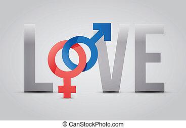 fogalom, szeret, női, ábra, hím