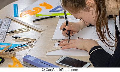 fogalom, tanul, feláll, blueprints., skicc, architectural-engineering, becsuk, építészmérnök, kéz, rajz