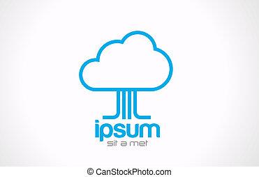 fogalom, technológia, kiszámít, átutalás, jel, icon., adatok, felhő