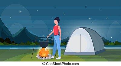 fogalom, természetjárás, edény, tele, utazó, leány, táj, kempingezés, főzés, tábortűz, sátor, lakás, nő, élelmiszer, forralás, előkészítő, háttér, horizontális, étkezés, tekéző, túrázik, kiránduló, hosszúság, éjszaka