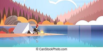 fogalom, természetjárás, hegyek, ősz, tele, leány, táj, kempingezés, tűzifa, erdő, birtok, sátor, lakás, nő, természet, elbocsát, háttér, horizontális, tábor, kiránduló, hosszúság, gyártás, folyó, máglya