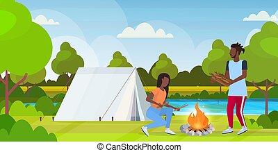 fogalom, természetjárás, utazó, tele, táj, kempingezés, tűzifa, hosszúság, birtok, sátor, lakás, nő, természet, elbocsát, párosít, háttér, horizontális, ember, túrázik, sportkocsik, amerikai, afrikai, gyártás, máglya