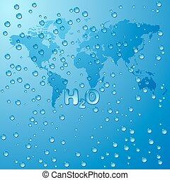 fogalom, víz, vektor, háttér, világ, megment