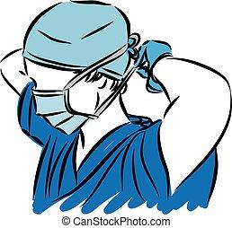 fogalom, vektor, ábra orvosi, maszk, tighting, orvos