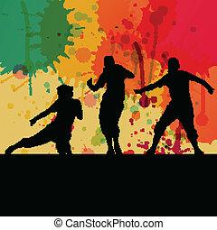 fogalom, vektor, árnykép, táncol, szín, loccsanás, háttér, leány