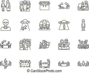fogalom, vendég, állhatatos, ikonok, ábra, vektor, egyenes, cégtábla, áttekintés
