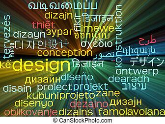 fogalom, wordcloud, izzó, tervezés, háttér, multilanguage