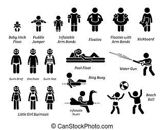 fogaskerék-áttétel, felszerelés, úszás, szórakozási, alak, gyerekek, pictogram., pocsolya, aids, biztonság, bot, víz, ikonok, gyerekek, apró