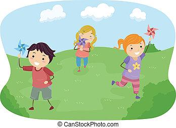 fogaskerekek, gyerekek, stickman, játék terep