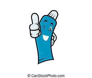 fogkrém, alázatosan, ajánló, barátságos, gesztus
