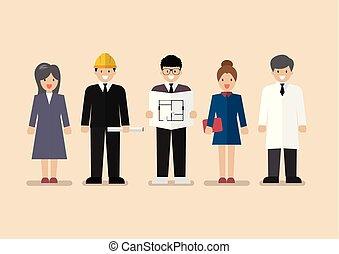 foglalkozás, állhatatos, szellemi foglalkozás, változatosság, emberek