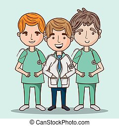 foglalkozás, profi, orvosok, férfiak, egyenruha