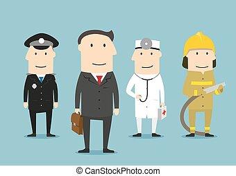 foglalkozás, profi, profession., characters., emberek