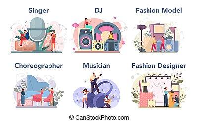 foglalkozás, táncos, mód, set., dj, kreatív, munka, tervező