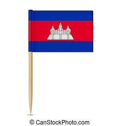 fogpiszkáló, fehér, cambodia., háttér, lobogó