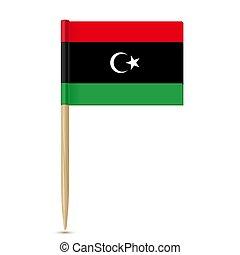 fogpiszkáló, fehér, libya., háttér, lobogó