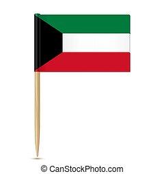 fogpiszkáló, white háttér, lobogó, kuwait.