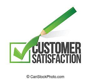 fogyasztó kielégülés, checkmark, ceruza