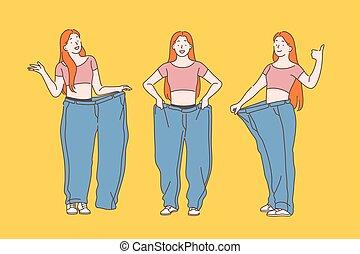 fogyaszt, diéta, súly, concept., kár