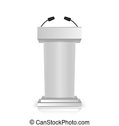 fokozat, áll, icons., elszigetelt, szürke, microphones, 3, fehér, vita, pódium, gyakorlatias, vagy, hajóorr, beszélő, tribün, háttér.