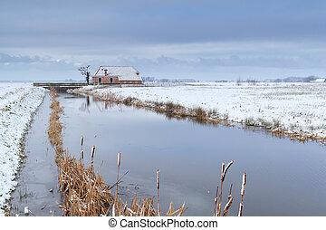folyó, épület, farmland, hó, holland