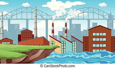 folyó, gyár, háttér