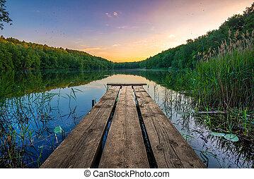 folyó, keresztül, napkelte, gyönyörű, bridzs