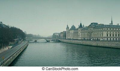 folyó, lövés, ajándék, conciergerie, húzóháló, párizs, híres, france., állás, 4k, bíróságok, fogház, törvény, előbbi, lábas