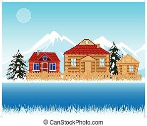 folyó, tél, falu, mellett