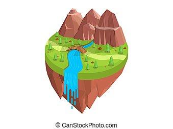 folyók, isometric, természetes, hegyek