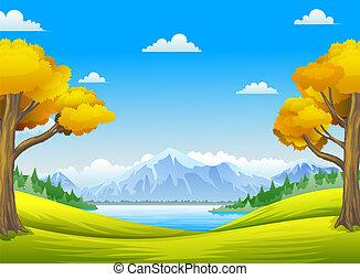 folyók, nagy fa, hegyek, erdő